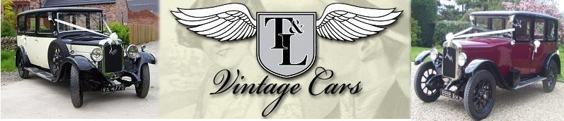 1920's & 1930's genuine Austin vintage wedding cars for hire complete with chauffeur from T & L in Derbyshire